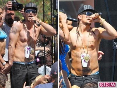 James Franco goes shirtless on Spring Breakers set and flashes his (fake) tattoos! Check out even more photos.