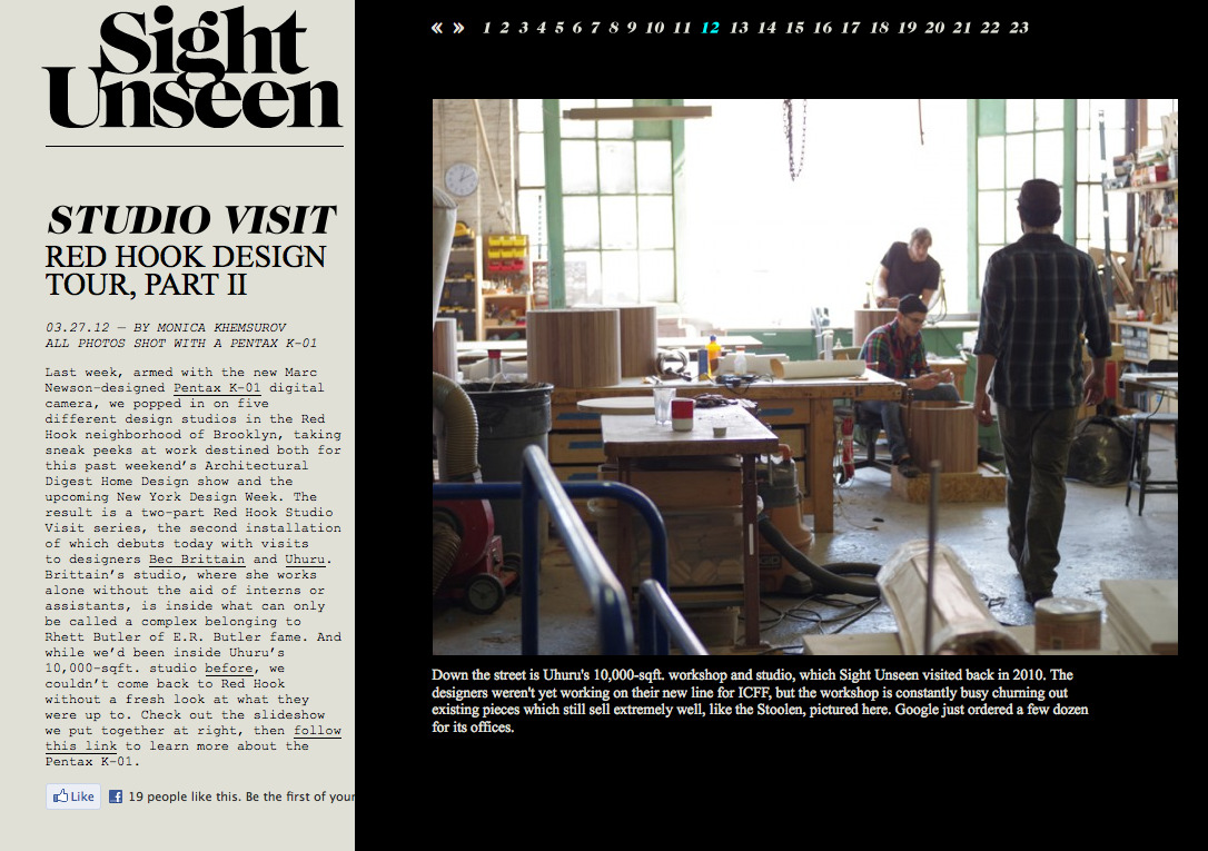 Sight Unseen came by our shop last week to take a few photos.  Check them out! (Our space starts on photo 12.) They also did a great studio visit last year.