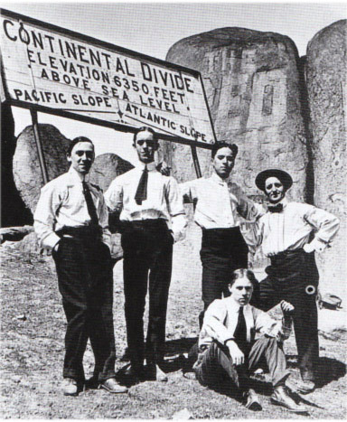 fuckyeahchaplin:  Here is Charlie, 3rd from the left, when he was on an American tour with the Karno Co in 1913. That's his roomie, Stan Laurel to the left,  that he is resting his hand on!