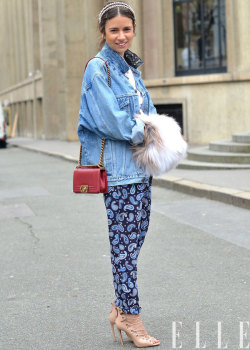 Pajama dressing on the street! elle:  Street Chic: Paris Denim is back in a big way- see more ways to wear it here! Photo: Courtney D'Alesio