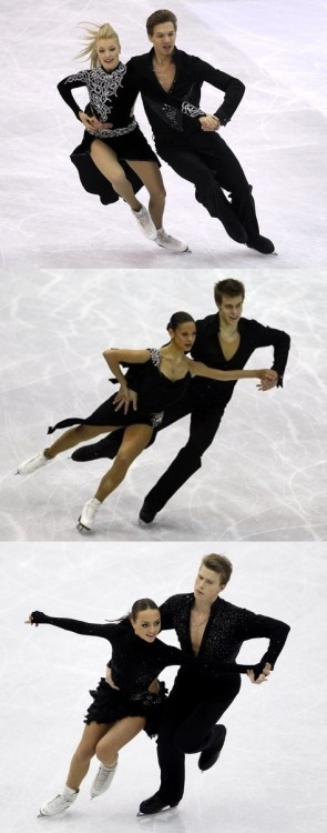 All the Russian ice dancers wore black for the short dance at the 2012 World Championships. All the ladies had nude backs too. The costumes were fine for the Rhumba pattern dance, but for the more upbeat sections of their Latin dances the black was much too sombre. (Ekaterina Bobrova and Dmitri Soloviev, Elena Ilinykh and Nikita Katsalapov, and Ekaterina Riazanova and Ilia Tkachenko.) Photos from Daylife.com.