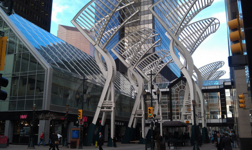 Trees sculpture, Stephen Ave on Flickr.Ten stainless steel 20-plus-metre sculptures, built on concrete caissons that extend to almost the same depth underground.  On the Stephen Avenue (8th Ave. SW) pedestrian mall at 3rd St. SW in downtown Calgary.  Donated by Trizec Hahn Office Properties to the city in 2000, with Cohos Evamy Partners Architect, directed by Jablonsky, Ast And Partners, fabricated by Empire Iron Works (Calgary, Alberta) 20120328 1750