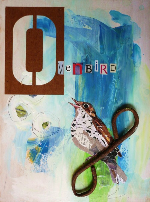 O is for Ovenbird, 8 x 10,  alphabet bird series created from bits of recycled magazine pages, vintage papers, junk, paint Betsy Emrich msbetsy.etsy.com