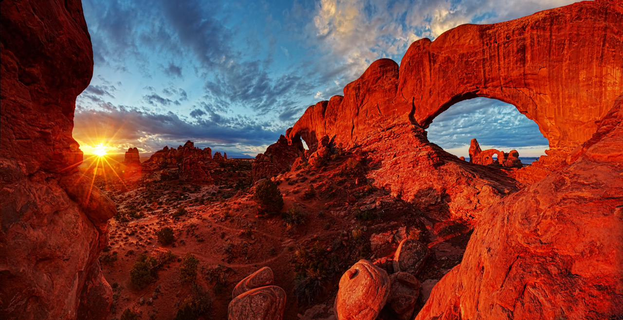 From America's Great Outdoors:  Arches National Park in Utah preserves over 2,000 natural sandstone arches, like the world-famous Delicate Arch, as well as many other unusual rock formations. In some areas, the forces of nature have exposed millions of years of geologic history. The extraordinary features of the park create a landscape of contrasting colors, landforms and textures that is unlike any other in the world. Photo: Jim Karczewski - National Park Service