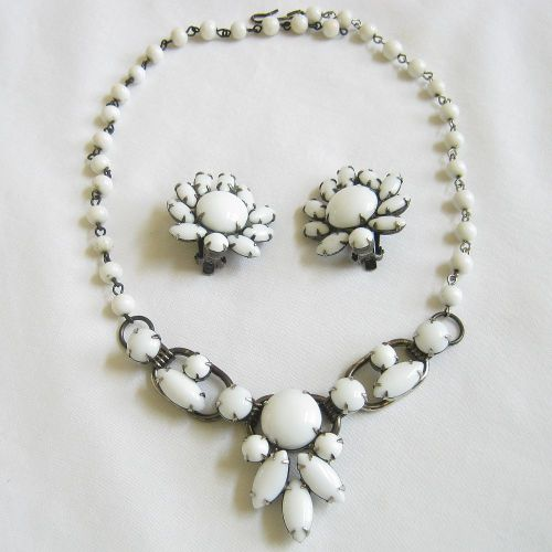 This is a beautiful DeLizza & Elster, Juliana 3 section Milk Glass Necklace and Earrings Demi Parure. See more:  www.myvintagejewels.etsy.com