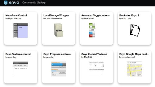 Check out the new Enyo Community Gallery!  Here you can find widgets, libraries, and other open source add-ons that the community has created. Oh, and the gallery itself is written in Enyo, too.  How meta is that? The gallery already features some of our favorite components, like Ryan Watkins' menu pane controls and the progress controls developed by Jeremy Thomas on the Enyo Developer Relations team. The instructions for how to submit your own component to the gallery are in the readme file here. PS: This initial release is all about discovery and getting all the community components in one place, and still needs core functionality like search and categorization.  If you're interested in improving the gallery itself, we're accepting pull requests!