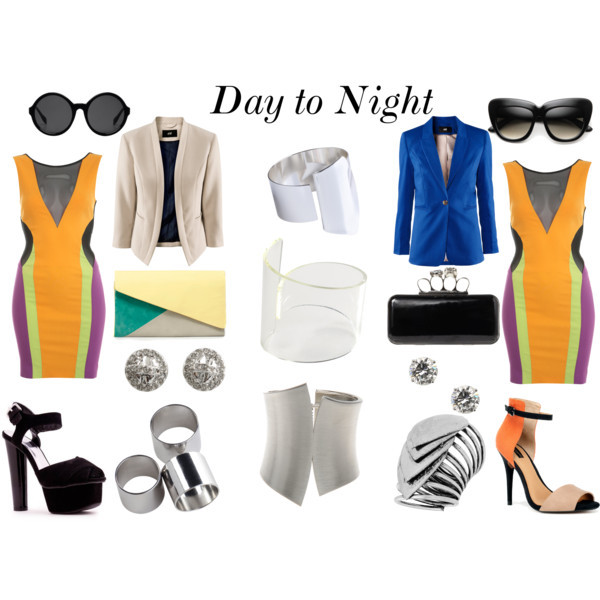 Day to Night by intoxicninja featuring plastic sunglasses  Miss Selfridge bodycon dress, $35H m blazer, £25H m blazer, £15Zara shoes, $50High heels, $28Zara clutch handbag, $36Jane Norman black clutch, £30Marc by Marc Jacobs stud earrings, $48Nina cubic zirconia stud earrings, $25Dorothy Perkins antique silver ring, $14MTWTFSS Weekday silver bangle, $12MTWTFSS Weekday plastic bangle, $12Cuff bangle, £12Silver ring, $10Cat eye sunglasses, $12Monki plastic sunglasses, €10