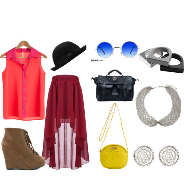 Jump Start by intoxicninja featuring a red skirt  Loose tank top, $38Red skirt, $25Wedge heels, £30Mango messenger bag, £18Seed bead necklace, $30Pave earrings, £15Monki metal ring, €6Blue shades, $16