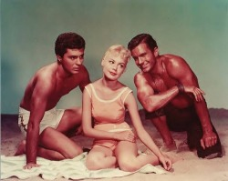 Gidget, with Moondoggie and the Big Kahuna (James Darren and Cliff Robertson)