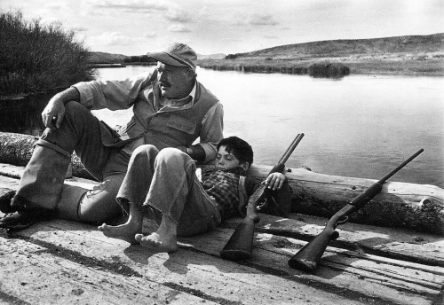 Ernest Hemingway and his son Gregory. Sun Valley, October 1941 by Robert Capa