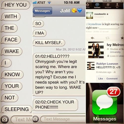 So I slept for 14 hours and I wake up to all this! At least, I know she cares! <33