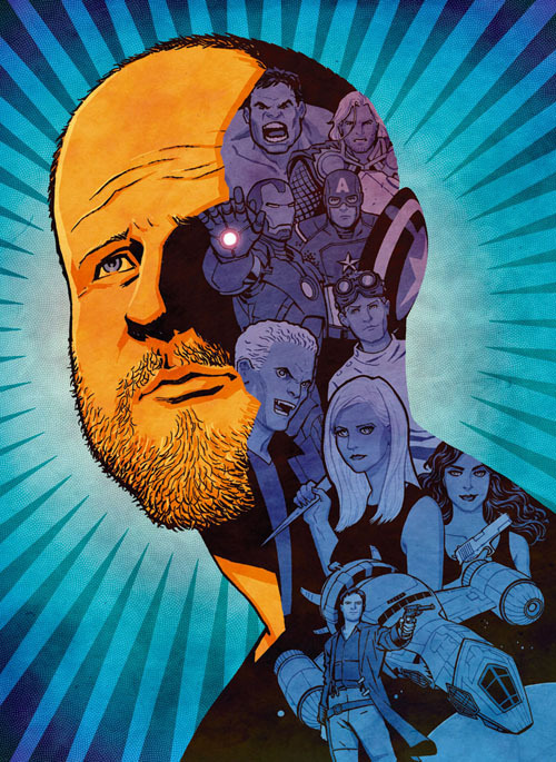 "cliffchiang:  ""Joss Whedon:The Geek Shall Inherit The Earth"" for GQ Magazine, May 2012. Art director: Benjamin Bours. It's always a treat to do some editorial illustration, and when it's a portrait of somebody as beloved in the comics scene as Joss Whedon, I couldn't ask for a better subject. Art prints are available here: http://www.cliffchiang.com/shop/"