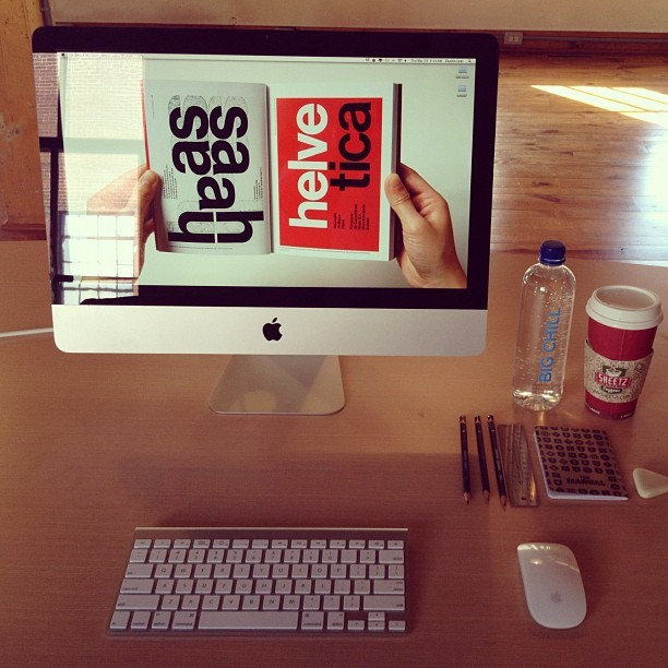 Designer/hipster desk photo #design #graphics #typography #typeographynerd #typenerd #graphicdesigner #designlife #designiseverywhere #apple #mac #themanual #sketch (Taken with Instagram at 3rd Idea Advertising)