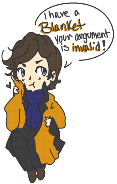"cakecantart:  I don't have a favorite in Sherlock yet lmao So heres my otp Sherlock and shock blanket For Jay Chao.  I have been calling this OTP ""Shershock."""