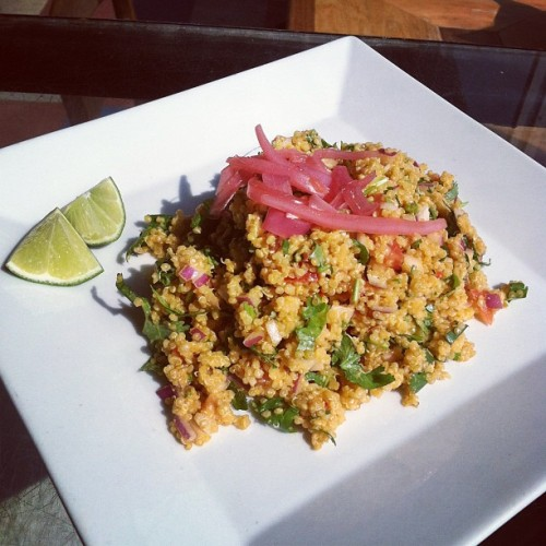 Our lovely special today: Annatto Quinoa Salad! Toasted quinoa, tomato, red onion, cilantro and an olive oil and lime dressing. Enjoy a side for $2 only!