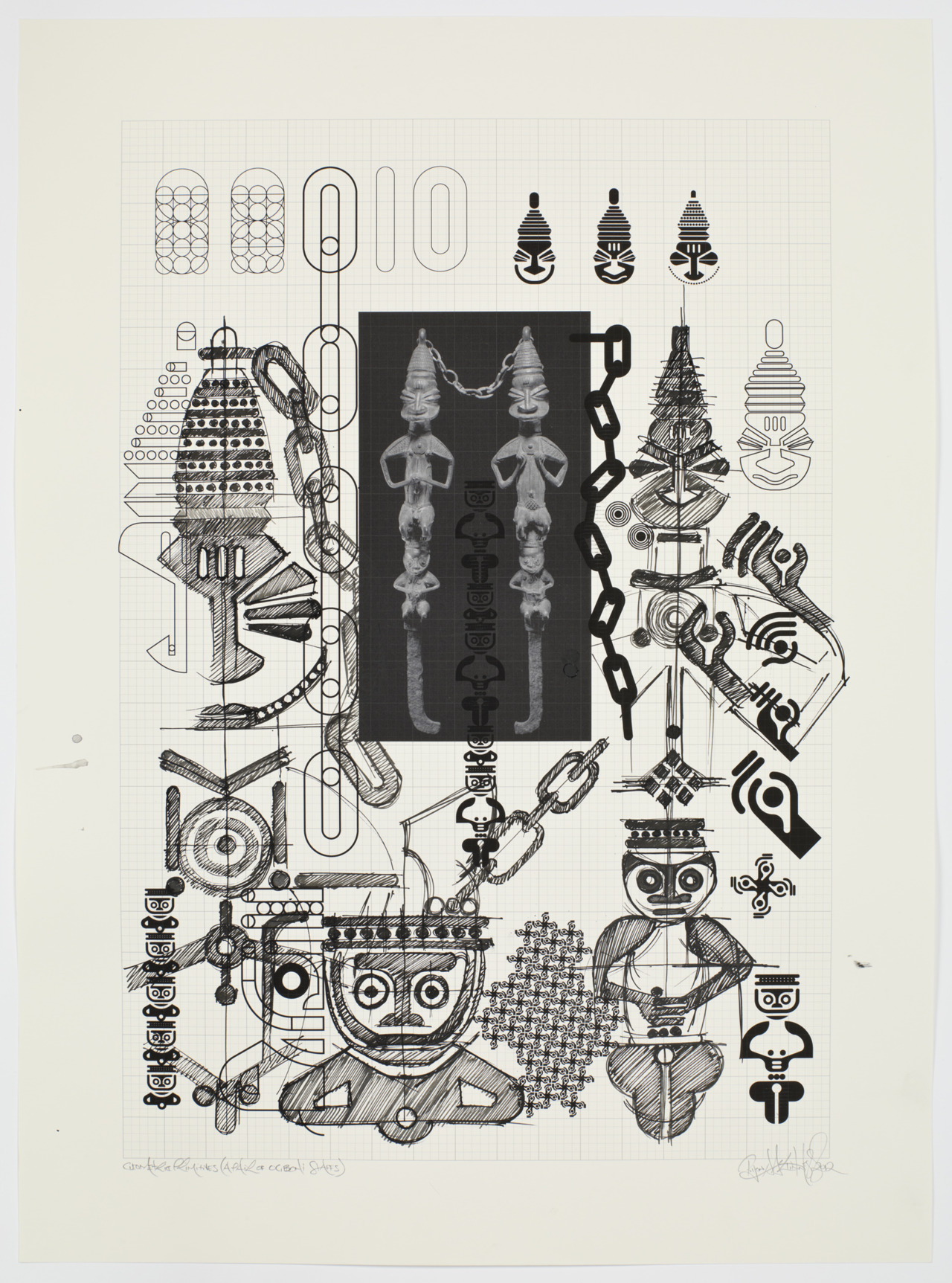 Ryan McGinness, Geometric Primitives Sketch Process (Pair of Obgoni Staffs), 2012 // Ink on Paper // 30 x 22 inches // Published by Pace Editions, Inc.