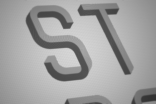 Optical illusional typography by 25 yr-old Martzi Hegedűs at Hungarian University of Fine Arts.
