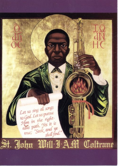 americanroutes:  This postcard from the St. John Coltrane African Orthodox Church in San Francisco is pinned to our senior producer's wall.