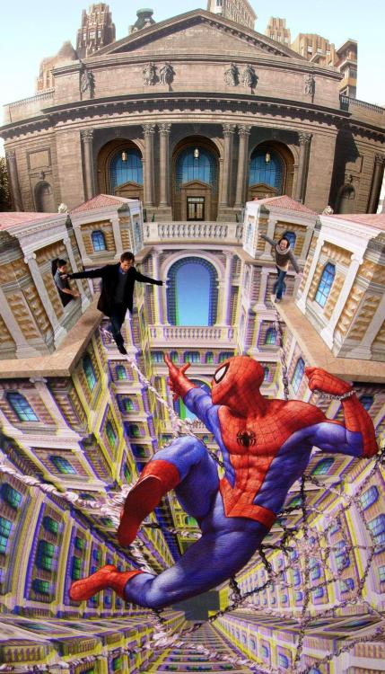 missfolly:  'Amazing 3D Street Art Lets Pedestrians Walk on Spider-Man's Webs by Kurt Wenner'  This is awesomeness in the form of street art :D