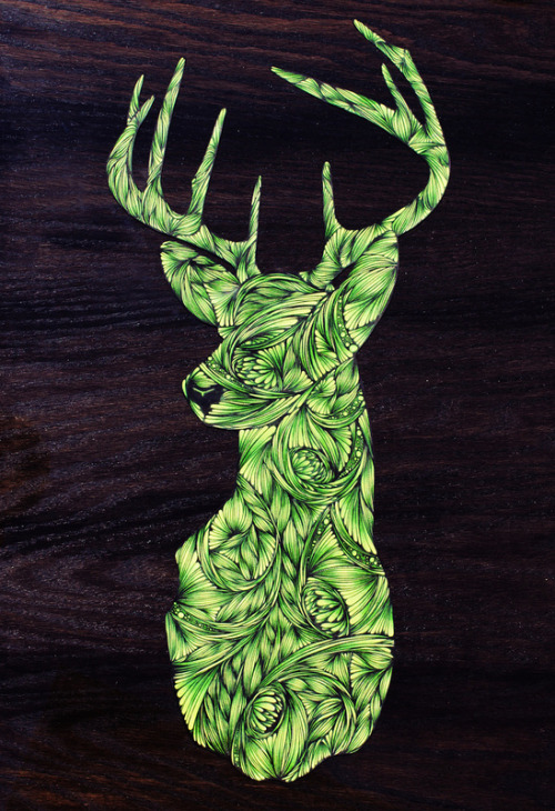 "fuckyeahpsychedelics:  ""Deer"" by Skull With Glasses"