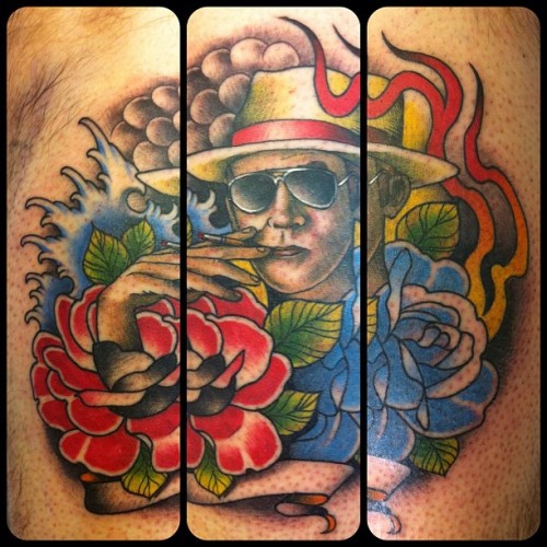 An odd but fun one today! Haha Hunter S. Thompson and an ode to an expendables' album cover.  I wish I still had the original sketch my client brought in.  Originally he wanted mr Thompson in stencil form like the cover of Thompson's kingdom of fear, but we opted for something this instead :) back of calf #tattoo #tattoos #huntersthompson  (Taken with instagram)