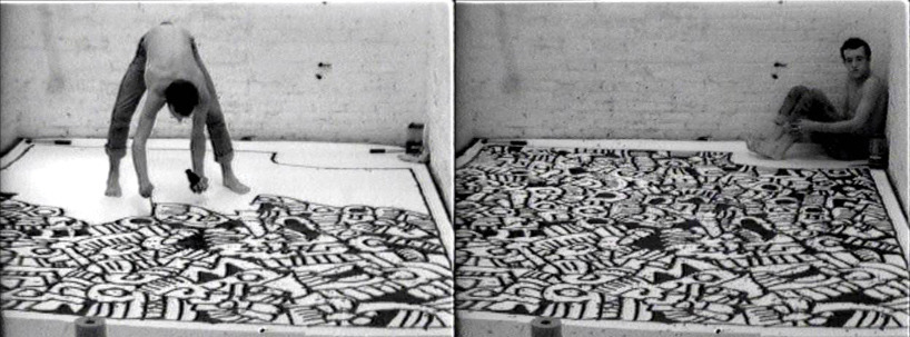 Keith Haring. stills from painting myself into a corner, 1979 - video, 33 min collection keith haring foundation, © keith haring foundation via designboom