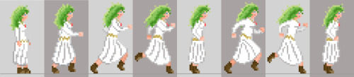 Here's the completed run cycle sprite for Illia :) coming along nicely! I made the sprites quite massive, though, so I'm not sure how this will translate… but despite the size, I managed to keep the pixellated look.