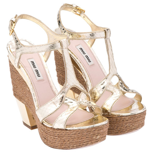 Mui Mui Gold Wedges www.muimui.com My perfect summer sandals.