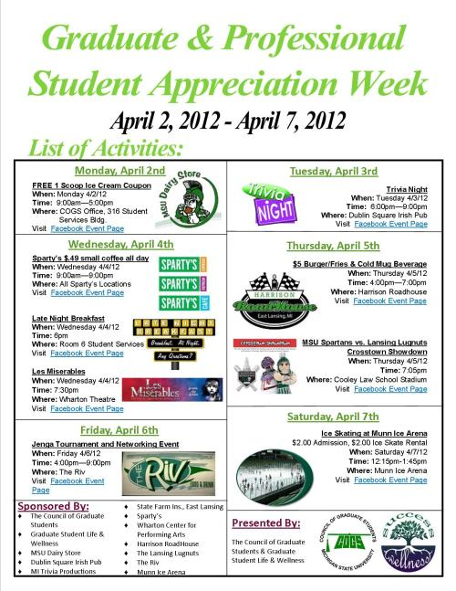 Next Week: Graduate & Professional Student Appreciation Week!
