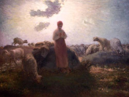Jean-François Millet The Keeper of the Herd 1871-74  Although Millet was a more a  Naturalist painter than a Realist painter, I feel his art comes much closer to achieving a sense of reverence and the sublime akin to Medieval Christian art. Only in essence— the form is very Renaissance although the overall style is still very much Millet. I love staring at this one at the AIC.