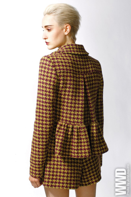 womensweardaily:  Fall 2012 Trend: Cut Short Nanette Lepore's wool cotton and acrylic houndstooth jacket and shorts.