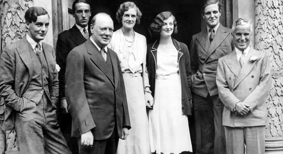 Winston Churchill and his family with Charlie Chaplin