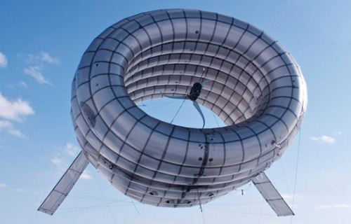 electricpower:  Wind turbine generates energy floating 350 feet off the ground  Trials have just been finished on a new kind of wind turbine — an inflated, helium shell containing traditional blades that floats in the air stream. The airborne turbine is designed to capture stronger, high-altitude winds to provide a clean, portable and power energy option.  In the recent tests held in Limestone, Maine, a 35-foot scale version of the turbine was shown to generate more than twice as much power at high altitude than generated at conventional tower heights. The Altaeros Airborne Wind Turbine (AWT) is transported to its location by a towable, docking trailer. The AWT is then deployed — in this trial some 350 feet above the ground — and held in place by tethers which also send the electricity generated back to the ground. Raising, operating and lowering the turbine was successfully completed a in fully automated cycle Now that successful trials have been completed, the manufacturer, Altaeros Energies, plans to scale up the technology to float turbines 1,000 feet off the ground where wind currents are over five times stronger and more consistent. In addition to being more efficient, these new turbines are able to deploy with minimal set up and impact on the environment. This makes them perfect for just about any adaptation from civilian to military use. The AWT was modeled after aerostats, which are essentially blimps that lift heavy equipment and keep them airborne over long periods of time. These industrial blimps can survive hurricane level winds and have built in safety features to control descent. Between these aerostats and the promise of the emerging AWT technology, the FAA was moved to release draft guidelines in December 2011 to allow for the new class of airborne wind systems to be cited under existing regulations. Altaeros Energies was founded in 2010 out of MIT and is currently looking for investors to help launch the first commercial versions of the prototype turbine. Altaeros Energies, via Inhabitat  DVICE