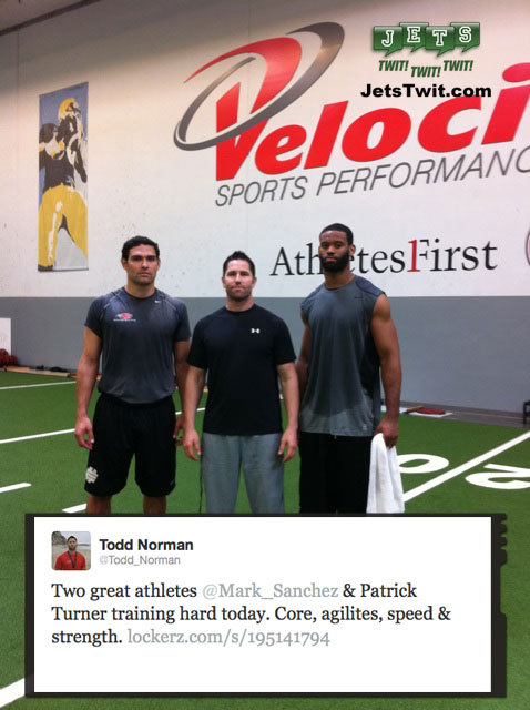 Mark Sanchez and Patrick Turner training with Todd Norman.  #Jets #NFL
