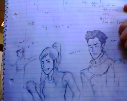Should be studying for calculus. Instead I doodle Legend of Korra. What are my priorities? Idk if you can tell but I drew a tiny Bolin in the back cause I felt bad for leaving him out. He's like hitting on some chick or something. and I'm still debating whether I should post the postsex Makorra pic on tumblr.