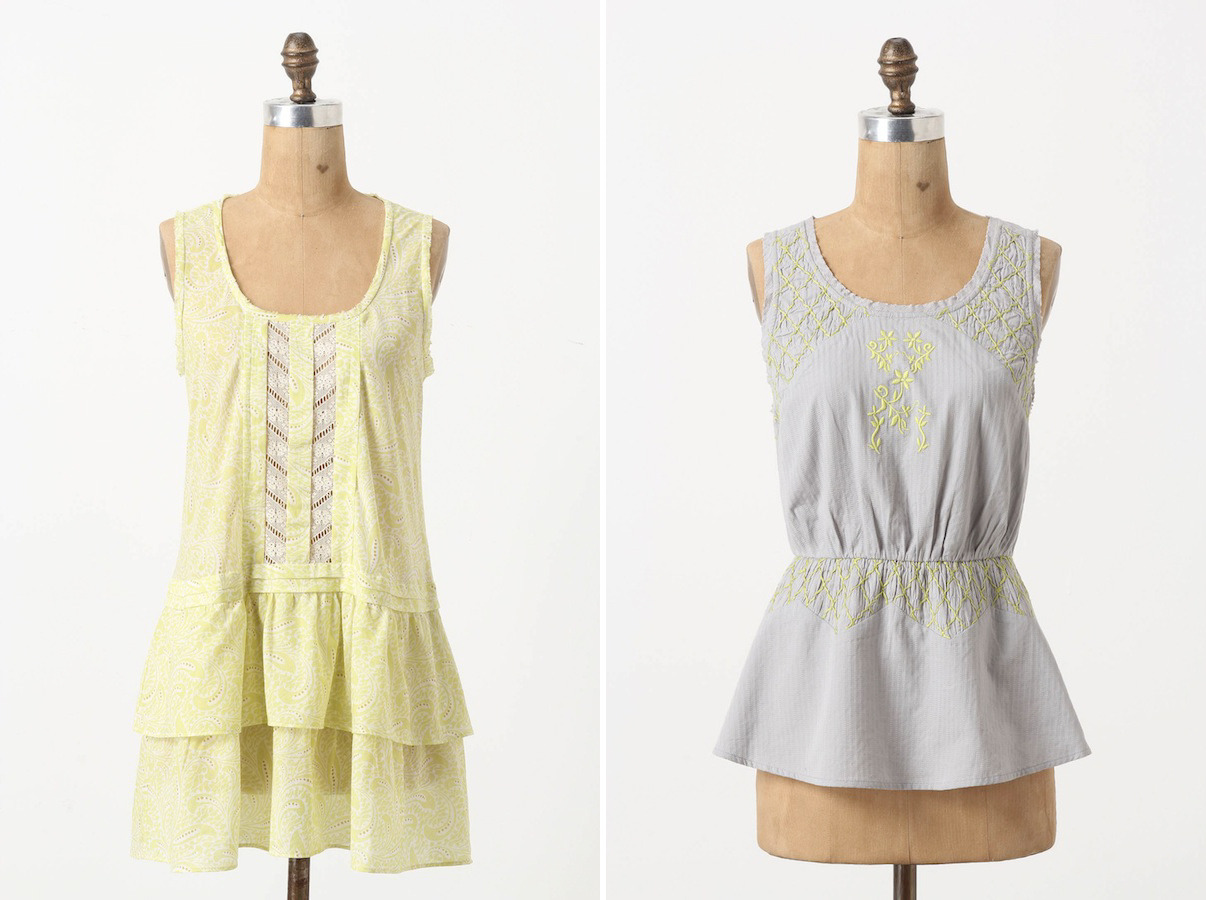 Chartreuse + Grey [by Anthropologie: 1. Sweet-Tart Tunic | 2. Sun-Stitched Shirt]