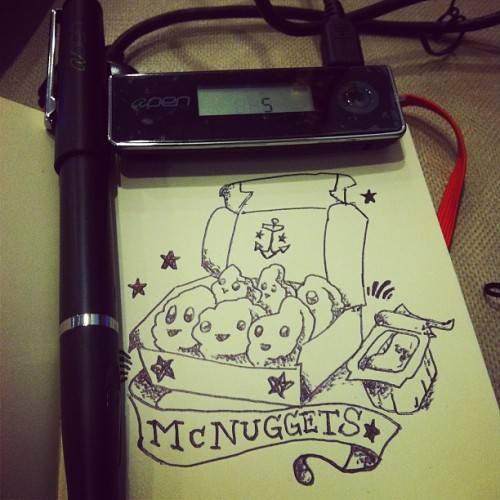 I felt like drawing a McNugget tattoo on my moleskine & recording it with my APen A4 #mcnuggets #moleskine #apen #drawing #illustration #cute #sketch #tattoo #lol (Taken with instagram)