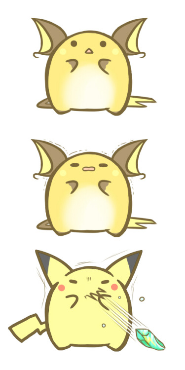 cute-pokemon:  I guess Pikachu didn't want to evolve xD [source]