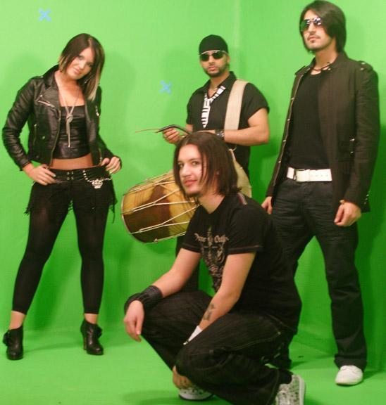 "Just found this picture of me, Liana, Sups and Bobby from our ""Electro Jugni"" video shoot in 2007 :) Good times!"