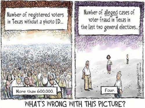 nefariousnewt:  stfuconservatives:  righteousblasphemy:  Nick Anderson — Houston Chronicle  What's wrong with this picture? Racists, that's what. -Jess  Not even straight-out racism, per se. What's really wrong with this picture is that a) these are facts, b) the people of Texas probably do not know these facts, c) the Republican Party of Texas has been busy hiding these facts, and d) the people of Texas are not more outraged, perhaps because this affects minorities and the elderly, not the vast white, pickup-truck-driving, big-belt-buckle-wearing, holier-than-thou majority.