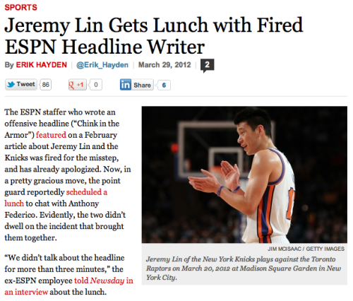 "Today in forgiveness. Key quote from fired ESPN employee Anthony Federico: ""We didn't talk about the headline for more than three minutes."" Nice to hear."