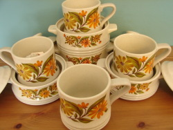 Capri's Daisy Bake & Serve Stoneware (set of four) - $15.00 Capri's Daisy Mugs Stoneware (set of four) - $15.00