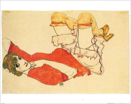 Egon Schiele, Wally mit roter Bluse (Wally with Red Shirt), 1913.