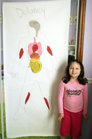 Kid-size human body poster — another great way to teach children about their insides!   Follow the link below for more information and print-outs of the tracers: http://earlybirdhomeschool.com/2010/04/kid-size-human-body-posters/