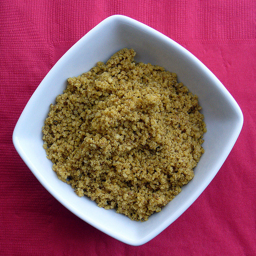 A batch of the vegan parmesan from Lane Gold's Vegan Junk Food. Just combine some nooch, walnuts, and olive olive in a food processes and pulse until chopped and blended. Simple and delish. (Lucky for you, there are plenty of similar recipes available online!)