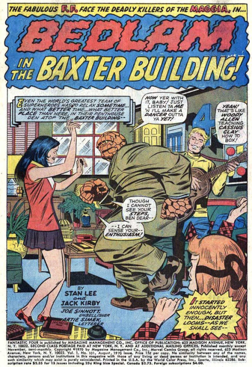 (via Bully Says: Comics Oughta Be Fun!)  Splash panel from Fantastic Four v.1 #101 (August 1970), script by Stan Lee, pencils by Jack Kirby, inks by Joe Sinnott, letters by Artie Simek