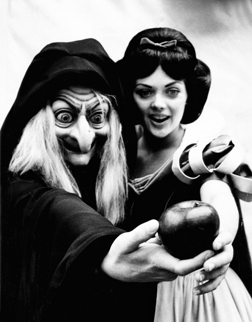The Evil Queen and Snow White at Disneyland c. 1970