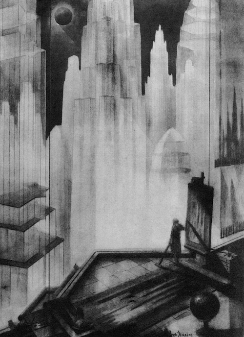 kateoplis:  Hugh Ferris, The Metropolis of Tomorrow (1929), from Futur Antérieur, Galerie du Jour, Paris