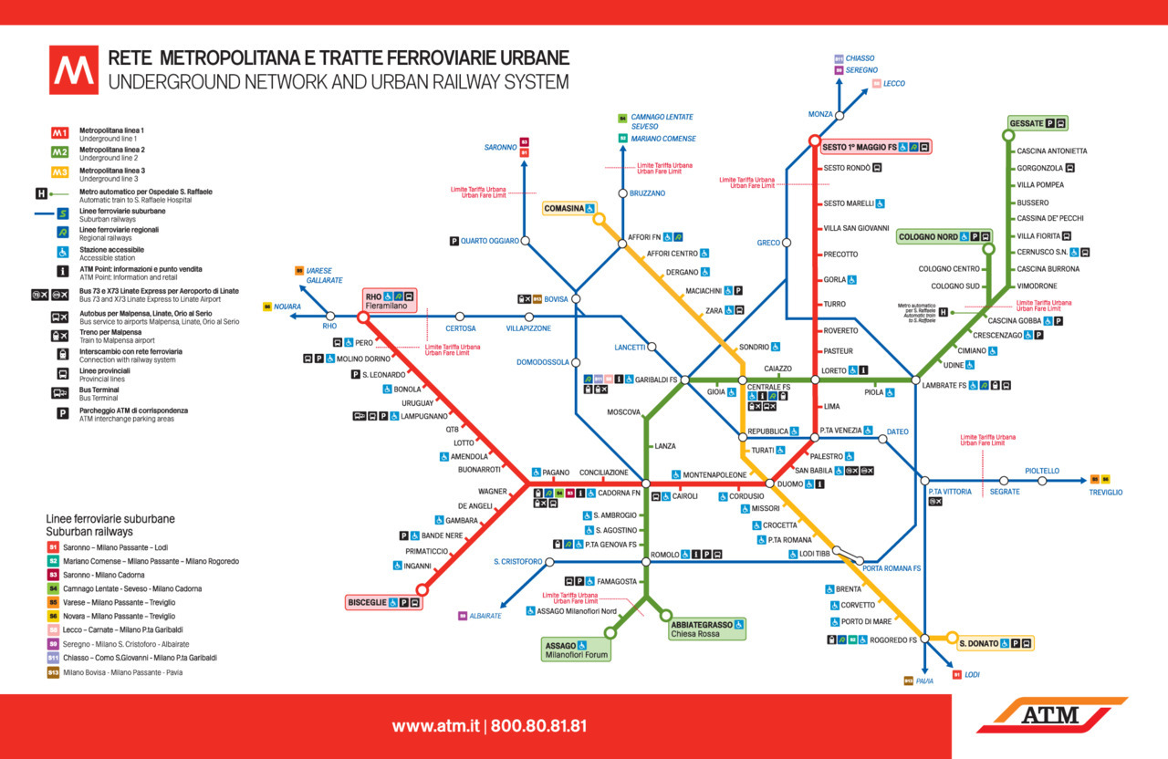 "Official Map: Milan Metro and Suburban Rail Service Milan's Metropolitana subway system is Italy's largest, and is supported by a comprehensive network of suburban and regional trains. It's also linked by an amazing tram system, but no indication of those services, or connections to it, are presented on this map.Have we been there? Yes, although I didn't use the Metro, preferring to walk around Milan's dense historic core.What we like: Use of blue for the thinner suburban rail lines gives them their own distinct look while still being subordinate to the more important Metro lines. Comprehensive set of informational icons, although this does lead to some ""icon overload"" at Centrale and Cadorna stations. Important information is in Italian and English. Good accessibility information. What we don't like: A total absence of curved corners on routes gives a very severe, almost formal look to the map, as does the all-caps typeface used (which, despite being a bespoke typeface created for this map, ends up looking very similar to Franklin or News Gothic). The tinted colours behind the terminus station names, while effective at differentiating those stations from normal stations, looks a little old-fashioned. Our rating: While this map looks quite sterile, it presents information quite clearly. I also feel that this look is totally intentional, as the streets of Milan's historic medieval core are twisty and narrow. The contrast between those streets and the more direct routing of the modern subway is effectively highlighted in this map. Three-and-a-half stars.  (Source: Official ATM website)"