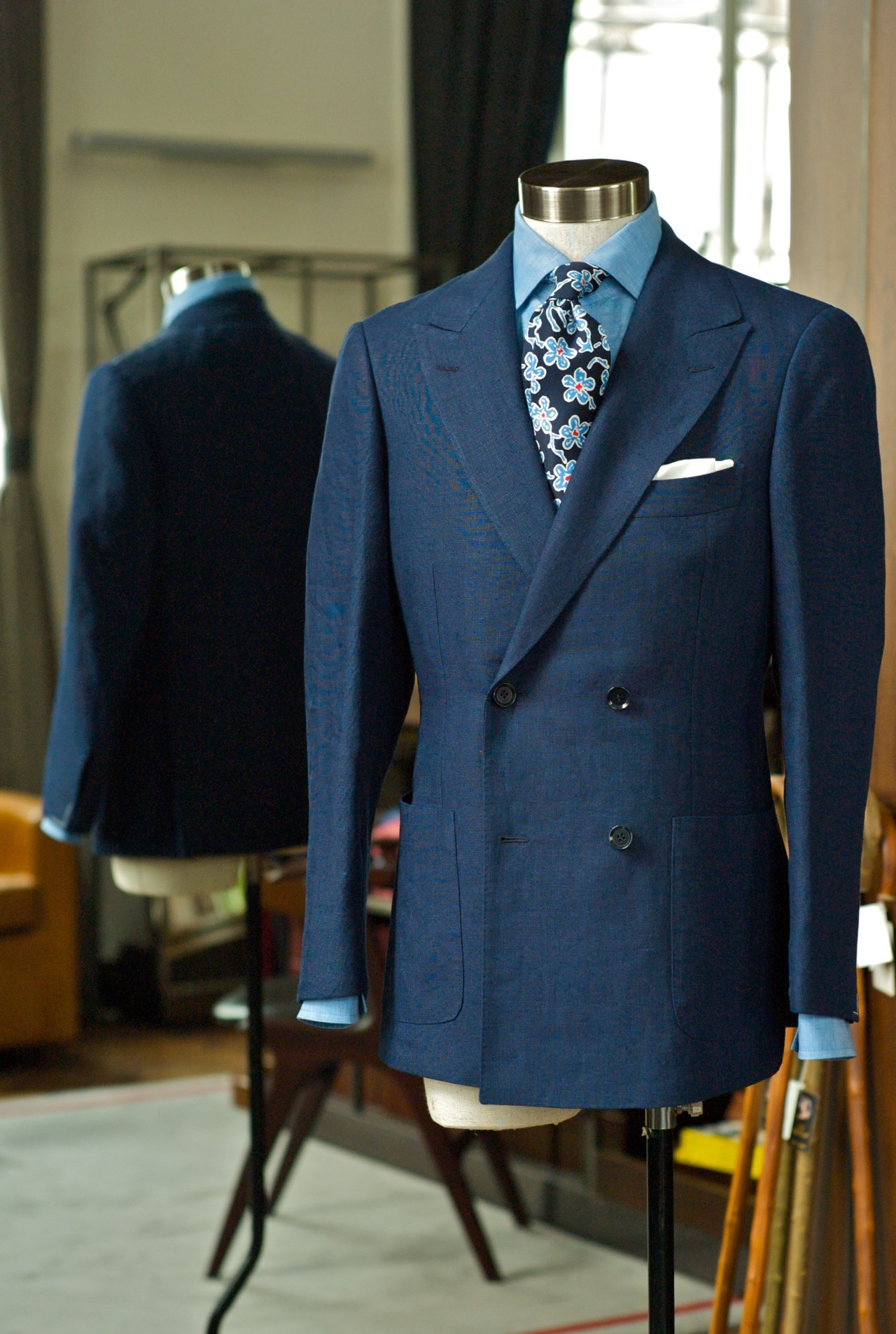 Ring Jacket 4x2 Double Breasted Linen w/ 2 patch Suit - $15,900 HKD